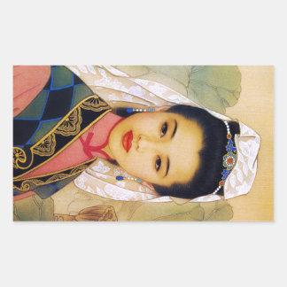 Princesa hermosa joven china fresca Guo Jing Pegatina Rectangular