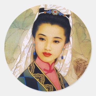 Princesa hermosa joven china fresca Guo Jing Pegatina Redonda