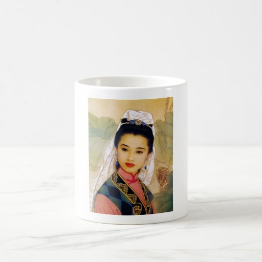 Princesa hermosa joven china fresca Guo Jing Taza Básica Blanca