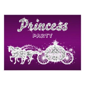 Princesa Horses y fiesta de cumpleaños del carro Invitaciones Personalizada