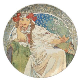 Princesa Hyacinth Plate de Alfonso Mucha Plato De Comida