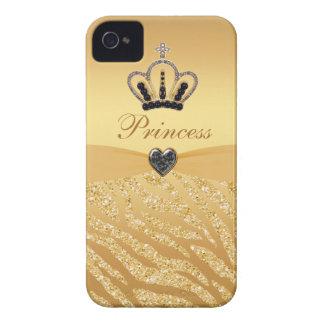 Princesa impresa Crown y brillo de la cebra iPhone 4 Carcasas