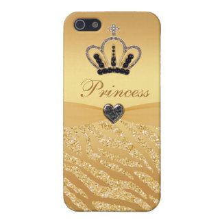Princesa impresa Crown y brillo de la cebra iPhone 5 Fundas