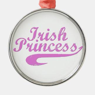 Princesa irlandesa en rosa adorno navideño redondo de metal