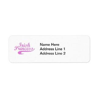 Princesa irlandesa en rosa etiqueta de remitente