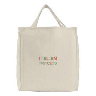 Princesa italiana bordada blanco la bolsa de asas