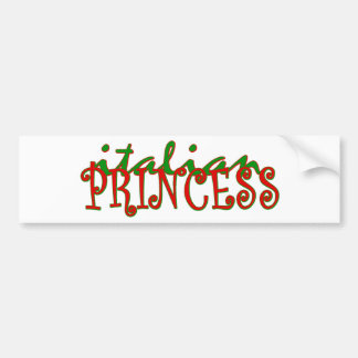 Princesa italiana etiqueta de parachoque