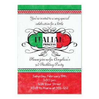 """Princesa italiana Party Invitation Invitación 5"""" X 7"""""""
