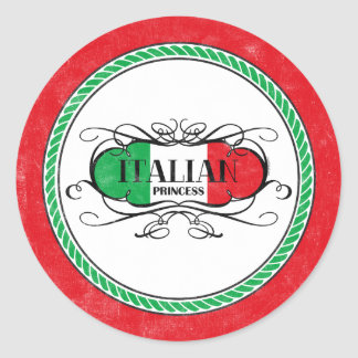 Princesa italiana Sticker Etiquetas Redondas