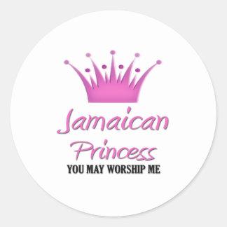 Princesa jamaicana pegatina redonda