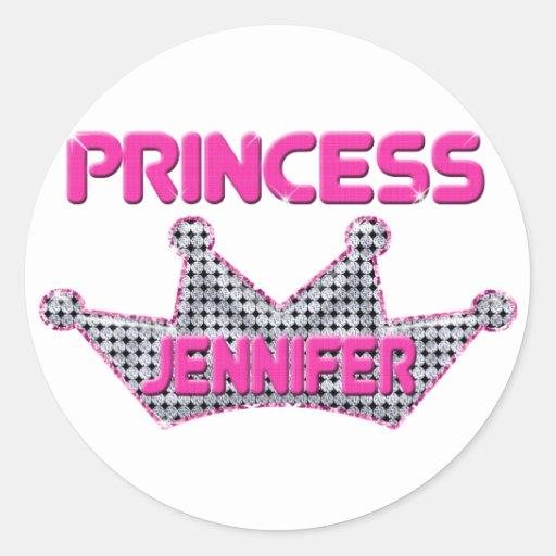 Princesa Jennifer Pegatina Redonda