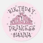 Princesa Juana Sticker del cumpleaños de la tiara Etiquetas Redondas