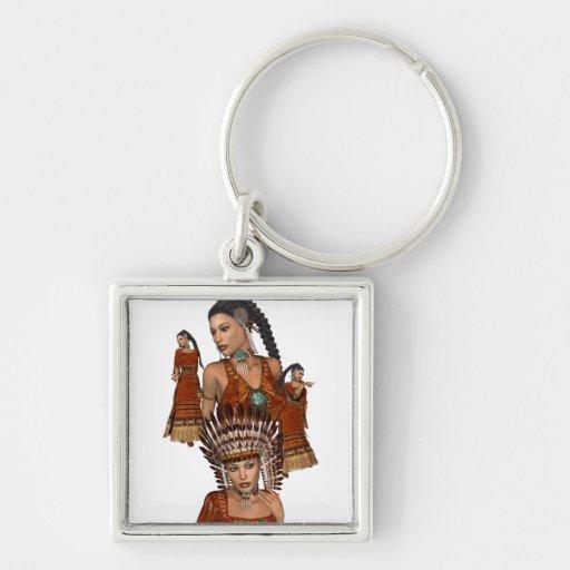 Princesa Keychain del nativo americano Llavero Cuadrado Plateado