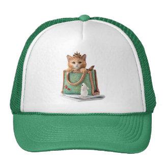 Princesa Kitten en bolso con el ratón y la revista Gorras