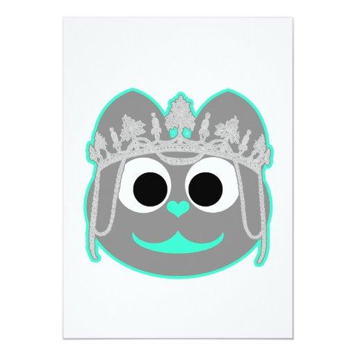 """Princesa Kitty Green - gris Invitación 5"""" X 7"""""""