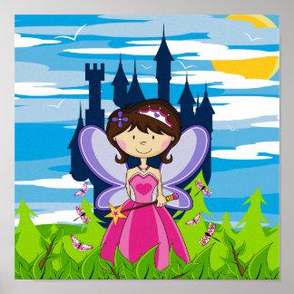 Princesa linda de la hada de la tiara póster