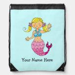 princesa linda de la sirena del mar (pelo rubio) - mochilas