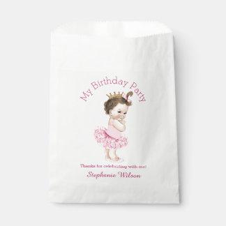 Princesa linda del Brunette del cumpleaños de la Bolsa De Papel