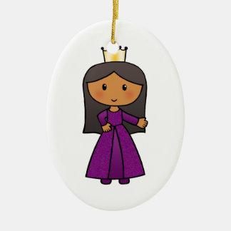 Princesa linda del clip art del dibujo animado con ornamentos para reyes magos