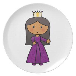 Princesa linda del clip art del dibujo animado con plato de comida