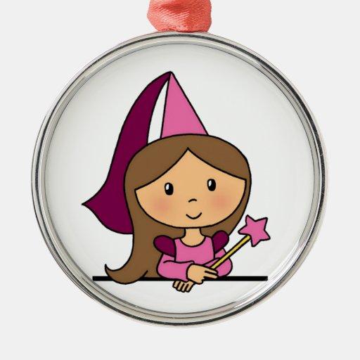 Princesa linda del clip art del dibujo animado en ornamentos para reyes magos