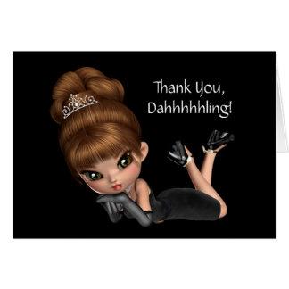 Princesa linda Diva Thank You Tarjeta Pequeña