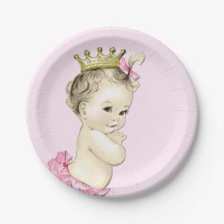 Princesa linda fiesta de bienvenida al bebé plato de papel de 7 pulgadas