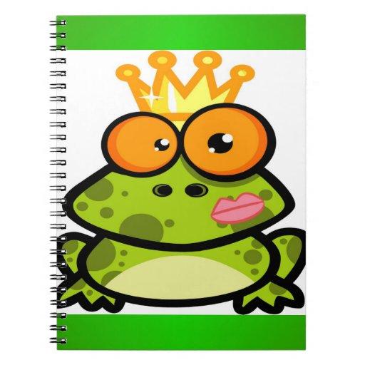 Princesa linda Frog con la corona de oro Libretas