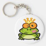 Princesa linda Frog con la corona de oro Llaveros