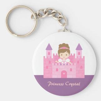 Princesa linda Girl en cuento de hadas rosado del Llavero Redondo Tipo Pin