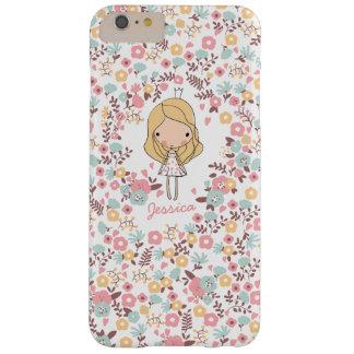 Princesa linda Monogram Custom Floral Funda Barely There iPhone 6 Plus