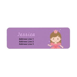 Princesa linda, rosada para las niñas etiquetas de remite