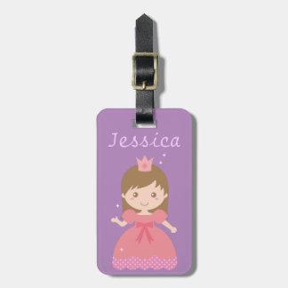Princesa linda, rosada para las niñas etiquetas de maletas
