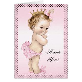 Princesa linda Thank You del vintage Tarjeta Pequeña
