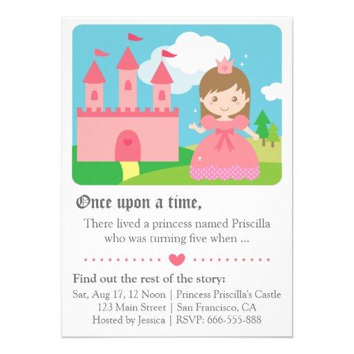 Princesa linda Theme, fiesta del cuento de hadas d Invitaciones Personalizada