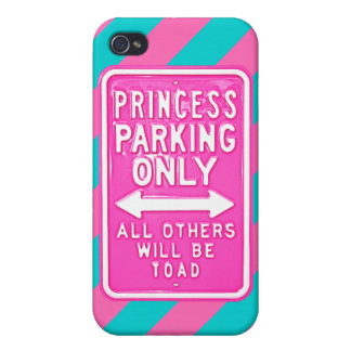 Princesa lista Parking Only Diag Striped del iPho iPhone 4/4S Carcasa