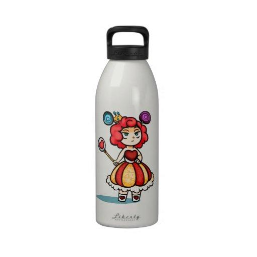 Princesa Lollipop Digital Art w/Hearts y corona Botella De Agua Reutilizable