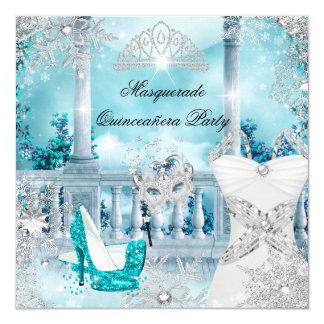"""Princesa mágica Blue 3 de la mascarada de Invitación 5.25"""" X 5.25"""""""