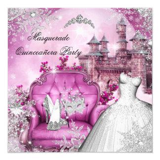 """Princesa mágica Pink de la mascarada de Invitación 5.25"""" X 5.25"""""""