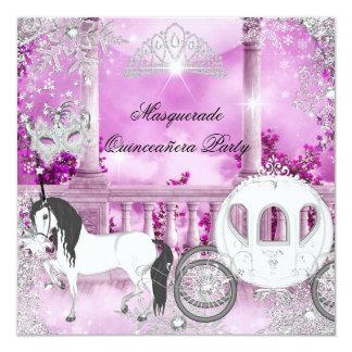 """Princesa mágica Pink Horse Carriage de Quinceanera Invitación 5.25"""" X 5.25"""""""