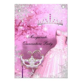 """Princesa mágica Quinceanera Masquerade Pink 2 Invitación 5"""" X 7"""""""