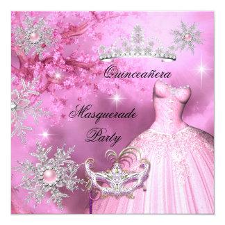 """Princesa mágica Quinceanera Masquerade Pink Invitación 5.25"""" X 5.25"""""""