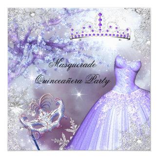 """Princesa mágica Quinceanera Masquerade Purple Invitación 5.25"""" X 5.25"""""""