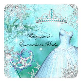 "Princesa mágica Quinceanera Masquerade Teal Invitación 5.25"" X 5.25"""