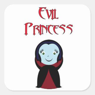 Princesa malvada pegatina cuadrada