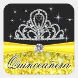 Princesa negra amarilla Tiara Quinceanera Bling Pegatinas Cuadradas Personalizadas