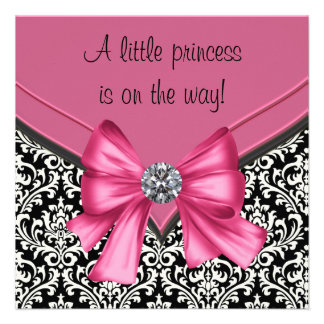 Princesa negra rosada elegante fiesta de bienvenid comunicados personalizados