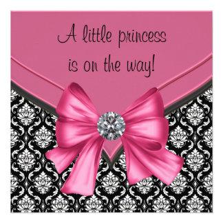 Princesa negra rosada elegante fiesta de bienvenid anuncio personalizado