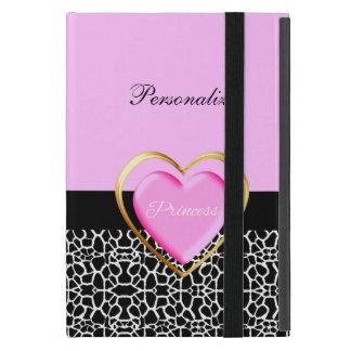 Princesa negra rosada femenina estampado de girafa iPad mini protector