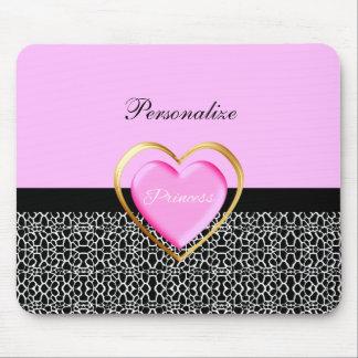 Princesa negra rosada femenina estampado de girafa mousepad